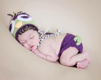 Crochet Baby Owl Hat and Diaper Cover Set - Newborn to 12 months - Plum Perfect and Pistachio - MADE TO ORDER