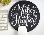 Mousepad - Never, ever give up - hand lettered mouse pad