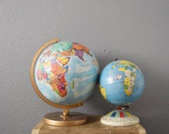 vintage replogle world globe // raised relief atlas // 12 inch // multicolored
