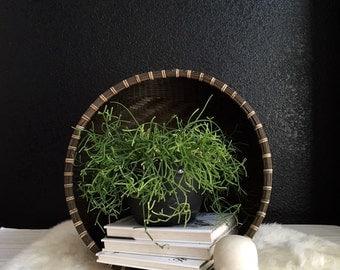 large deep round woven wicker basket / bowl