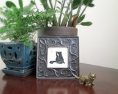 With Relish - Black Cat Lino Block Print in Vintage Frame