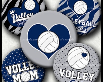 INSTANT DOWNLOAD Navy and Grey Volleyball Rocks (771) 4x6 Bottle Cap Images Digital Collage Sheet for bottlecaps  hair bows bottlecap images