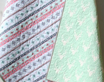 Deer Baby Quilt, Gril Aztec Modern Girl Bedding, Crib Cot Nursery Southwest Arizona Woodland Buck Toddler Pink Gray Mint Green Blanket