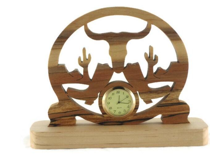 Western Themed Mini Desk Or Shelf Clock Handmade From Spalted Maple Wood