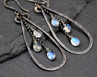 Rainbow Moonstone Earrings, Long Moonstone Teardrop Earrings, Blue Flash Moonstone Dangles, Hammered Teardrop Dangle Earrings