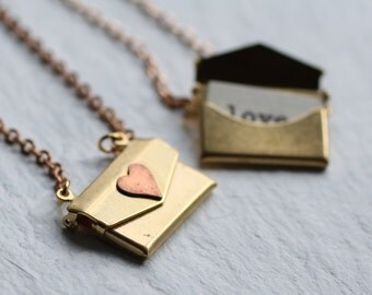 Personalised Envelope Locket... Letter Secret Message Proposal Gift Bridesmaid Necklace Girlfriend