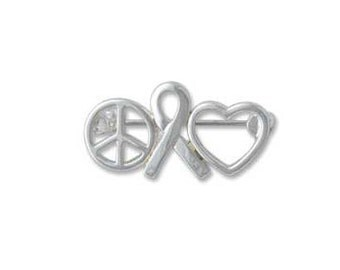 Silver Plated, Peace Sign, Ribbon and Heart, Pin, Qty 1