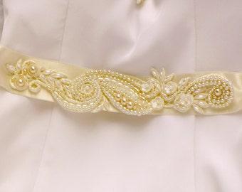 Ivory pearl bridal sash belt wedding dress sash bridal belt gold and ivory beaded lace sash for wedding dress Ivory sash pearl Sash wedding