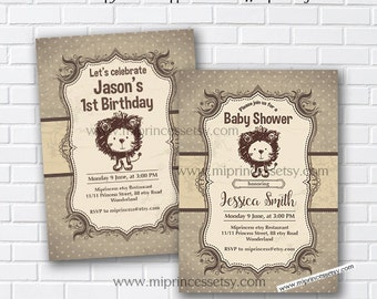Lion Baby Shower Invitation, vintage lion birthday invitation, vintage animal,Retro invitation, birthday party invitation - card 977