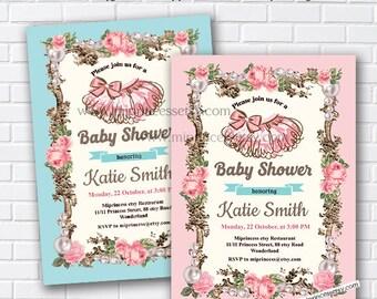 tutu invitation, Tutu Baby Shower Invitation baby girl shower, french frame baby girl Shower Invite party Invitation Card Design - card 767