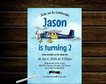 Boy Airplane Birthday Invitation for any age 1st 2nd 3rd 4th 5th 6th 7th 8th  kids birthday blue sky  - card 335