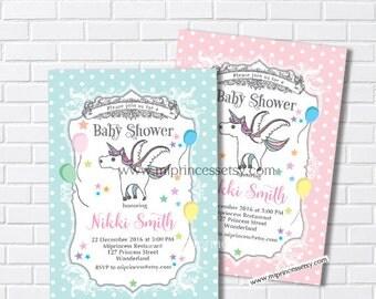 Unicorn Baby Shower Invitation Baby birthday invite Boy Shower Invite party Invitation Card Design baby boy baby girl shower - card 222
