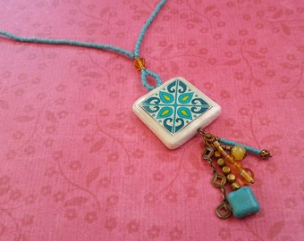 Turquoise Teal and Yellow Gold Spanish Tile, Catalina Island, Mexican and Mediterranean Tile Inspired Glass and Antique Brass Necklace 1013