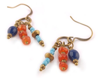 Multi Color Orange Carnelian & Cobalt Blue and Turquoise Glass Boho Chic Dangle Earrings