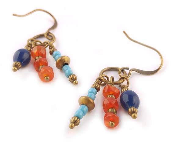Multi Color Orange Carnelian & Cobalt Blue and Turquoise Glass Boho Chic Dangle Earrings