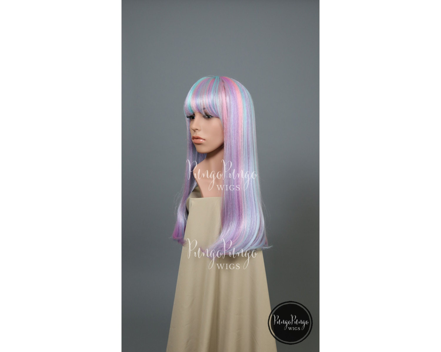 Pastel Wig Pink Blue Purple Long Straight Bangs Party