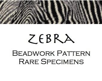 Zebra Peyote Stitch Cuff Bracelet Pattern - PDF file