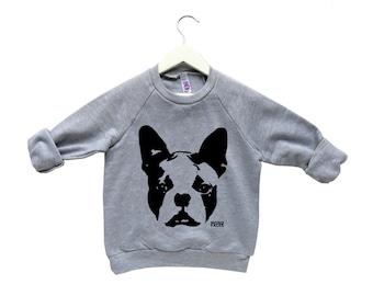 Boston Terrier Kids Sweatshirt, Boston Terrier Clothing, Cute Kids Clothes, Boston Terrier Toddler Sweater, Gift For Niece, Gift For Nephew