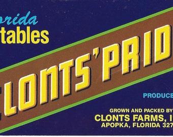 Clonts' Pride Vintage Crate Label, 1950s