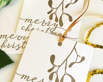 Holiday Gift Tags - Mistletoe Tags - Christmas Gift Tags - Christmas Gift Wrap - Christmas Wrapping