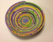 Spring Lavender Green and Yellow Coiled Rope Bowl, Fabric Bowl, Catchall Basket