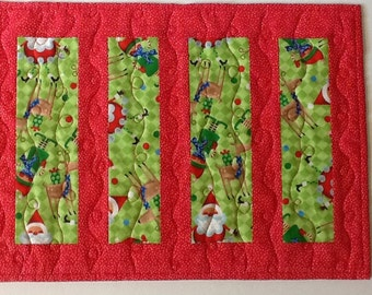 Christmas Quilted Table Runner, Whimsical Santa and Elves Candle Mat, Red and Green Table Runner,  Quiltsy Handmade