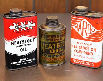 Vintage Oil Cans - Neatsfoot Oil Cans (lot of 3)