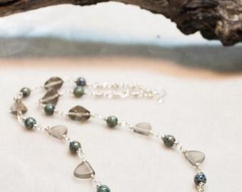 Smokey Grey and Blue Necklace Small Triangle Elegant Necklace Everyday wear silver necklace Blue necklace modern necklace Czech Glass