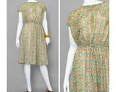 SALE - 70s Dress - Floral Dress - Kay Windsor Boho Dress - 1970s Dress - Short Sleeve Midi Dress - Orange Green Daisy Print Dress with Belt