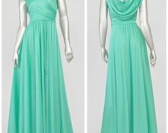 Vintage 70s Maxi Dress Greek Goddess Dress Sea Green Dress Disco Dress Long Formal Dress Cowl Back Prom Dress Full Skirt 1970s Evening Gown
