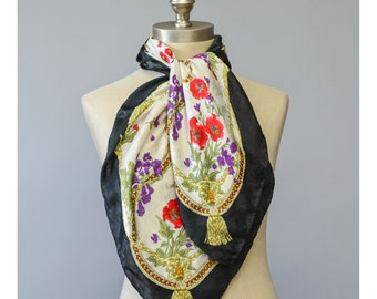 SALE - Floral Scarf Baroque Print Scarf 80s Scarf Jacquard Satin Scarf 1980s Scarf Large Square Scarf Black and White Floral Print Scarf