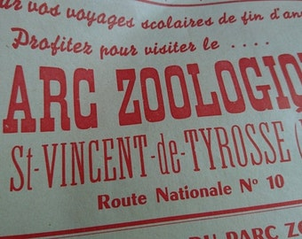 Gorgeous quirky genuine 1960s zoo PARC ZOOLOGIQUE advertising posted unused  Lions Tigers and Bears