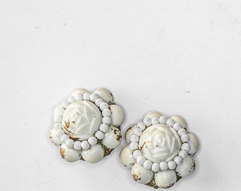 Vintage Shabby White Beaded Earrings Clip On Wedding Jewelry Bridal White