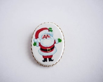 Vintage Large Santa Pin Holiday Christmas Brooch Retro Fashion Kitsch