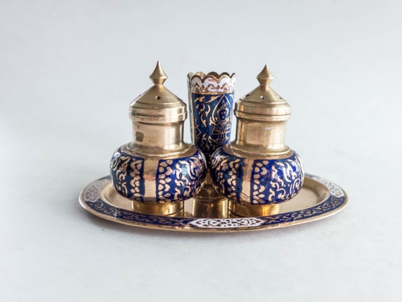 Vintage Thailand Salt And Pepper Shaker Set With Toothpick