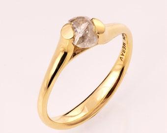 Raw Diamond Engagement Ring - 14K Gold Tension Set Engagement Ring, Unique Engagement ring, rough diamond ring, Alternative Engagement Ring