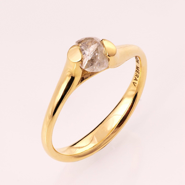 Raw Diamond Engagement Ring 14K Gold Tension Set Engagement