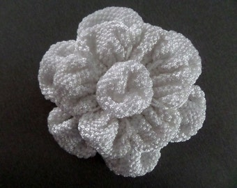 Large Knit Flower Applique, Bags decoration, Volume White flower surround rose, supplies, DIY knit, crochet appliques, embellishments