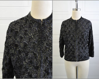 1950s Black Sequin Cardigan Sweater