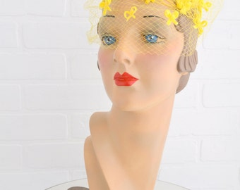 1950s Yellow Whimsy Hat