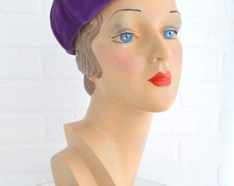 1960s Betmar Purple Velvet Beret