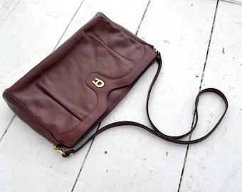 1980s Aigner Oxblood Leather Handbag