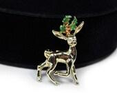 Cute Christmas Reindeer Brooch, Signed GERRY'S