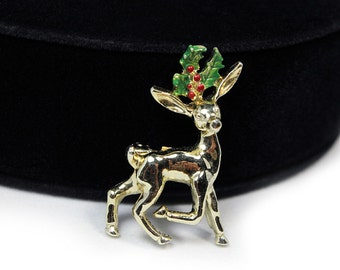 Cute Christmas Reindeer Brooch, Signed GERRY'S