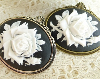 White over Black Wild Rose Cameo Brooch pin in Antique Silver Or Antique Bronze