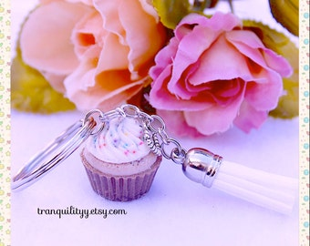 Cupcake Keyring, Chocolate Cupcake Key Chain, Cupcake w/ Sprinkles Tassel Keychain , Easter , Birthday Gift ,Handmade By: Tranquilityy