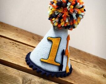 Boys First Birthday Hat, Pow Wow Birthday Hat, Aztec Birthday Hat, Arrow Birthday Hat, Felt Birthday Hat, Birthday Hat: Pow Wow Hat