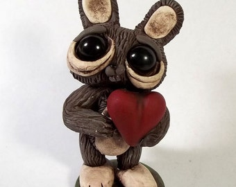 Love Bunny Polymer clay sculpture,desk buddy,small cake topper,OOAK ,Covington Creations