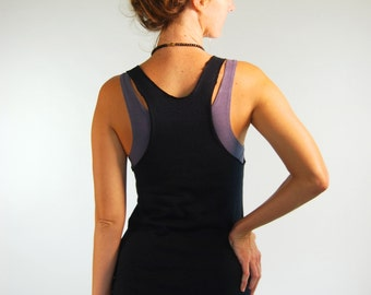 Yoga Layering Racerback Tank Top for Women - Black Hemp Organic Cotton Jersey -  Organic Clothing