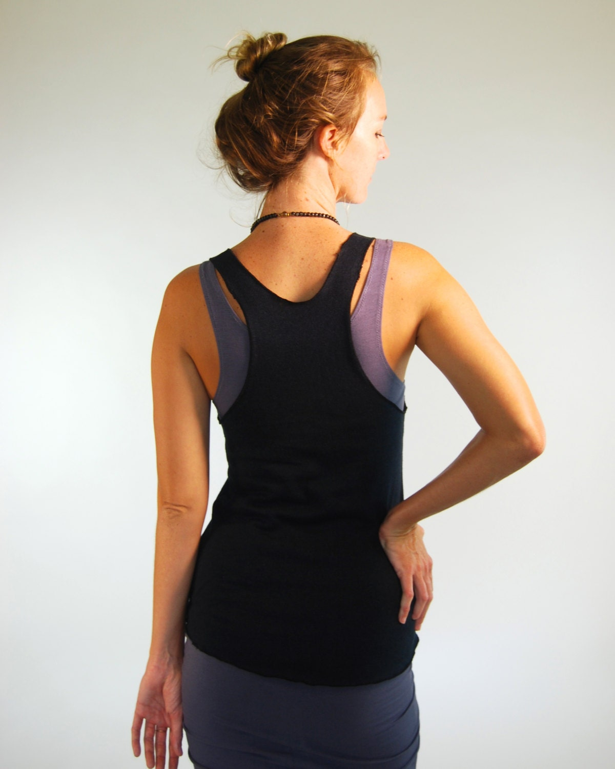 Yoga Layering Racerback Tank Top For Women Black Hemp